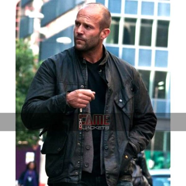 jason statham military style leather jacket