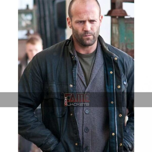 jason statham black leather military jacket