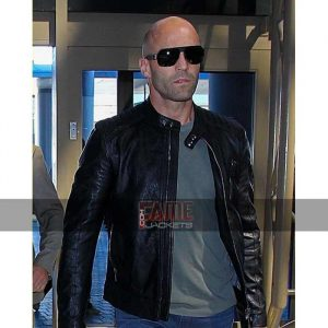 Jason Stathman biker style black leather jacket