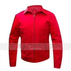 Red Cotton Bomber Jacket For Men