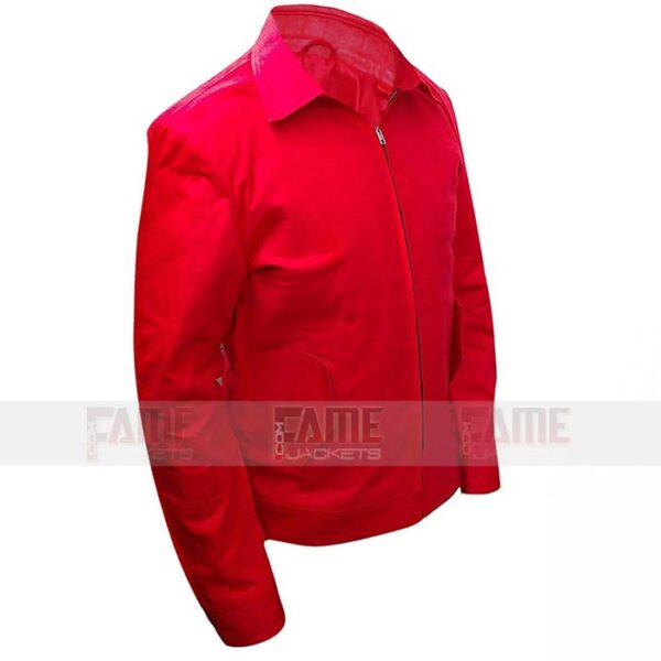 Red Cotton Bomber Jacket For Men