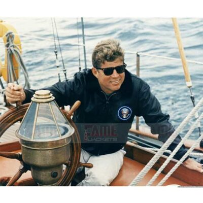 John f Kennedy Mens Brown Leather Bomber Fur Collar Jacket