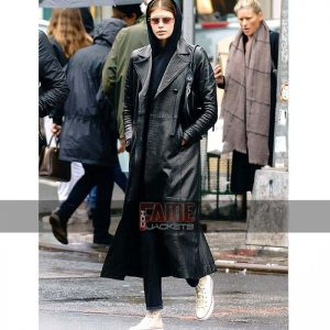 Ladies Black Leather Winter Trench Coat