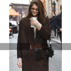 Kaia gerber brown suede leather winter coat