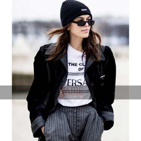 Women Latest Black Suede Leather Jacket