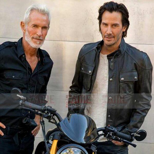 Mens Casual Black Leather Biker JAcket