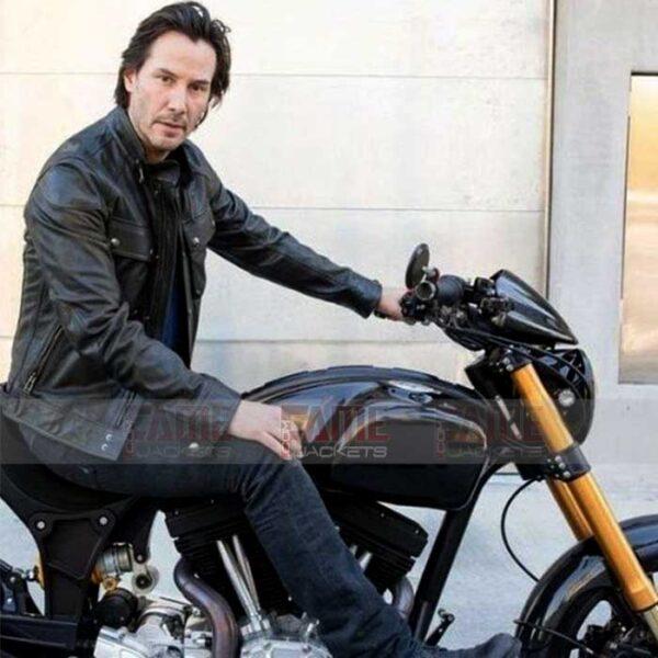 Men Black Motorcycle Leather Jacket