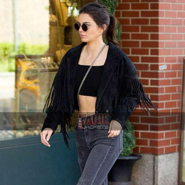 Women Cropped Black Suede Leather Jacket