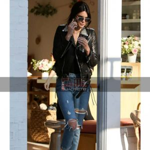 Women Metal Studded Black Leather Slim Fit Jacket