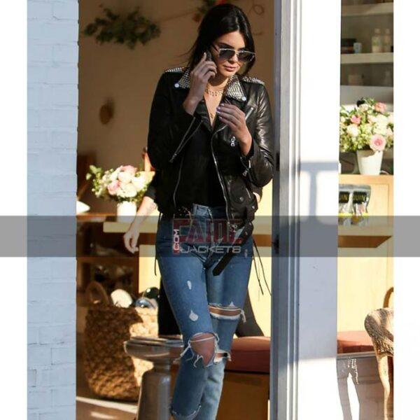 Women Metal Studded Black Leather Slim Fit Jacket