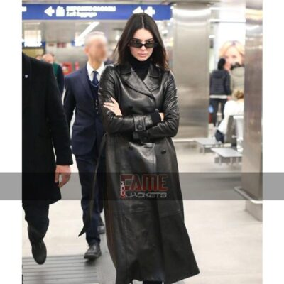 kendall jenner real black leather double breasted winter coats