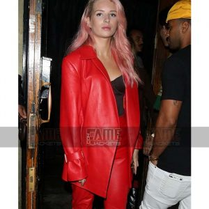 Buy Women's Red Leather Coat at $50 Off