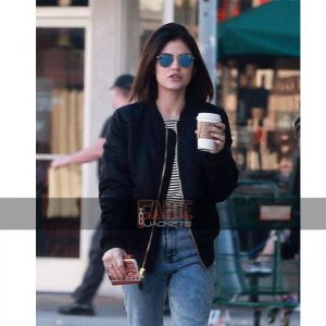 Lucy Hale Cotton Bomber Jacket On Sale