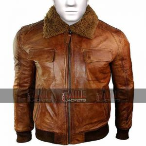 Mens Aviator Fur Collar Brown Leather Jacket