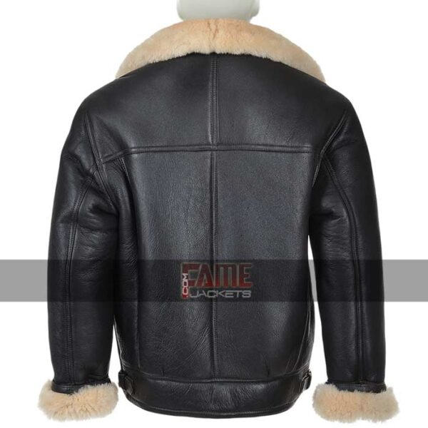 Mens Fur Lining Bomber Real Leather Jacket