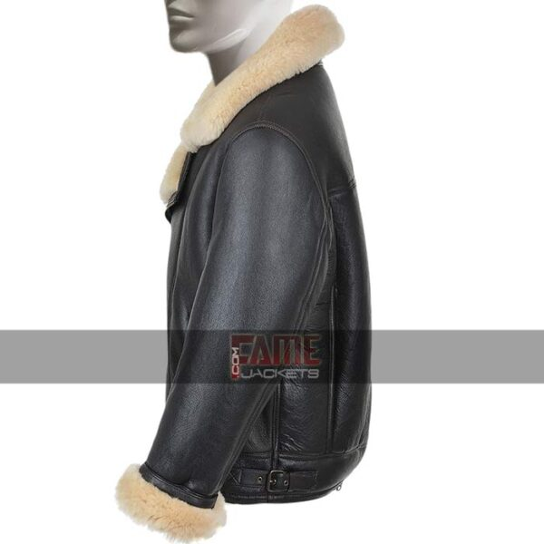 Mens Fur Lining Black Bomber Jacket