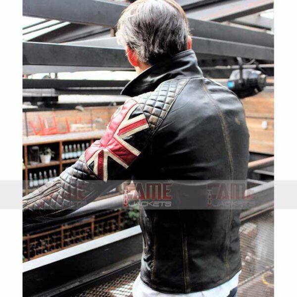Mens Black Quilted Cafe Racer Leather Jacket