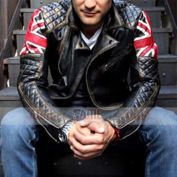 Mens Quilted Cafe Racer Brown Leather Jacket
