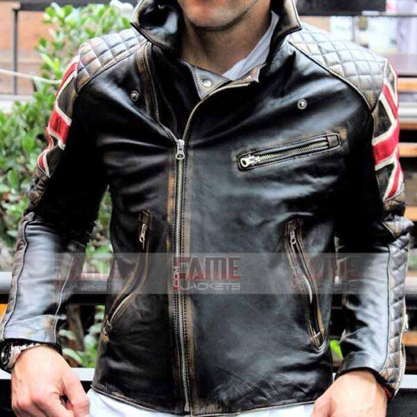 Mens Vintage Cafe Racer Biker Brown Leather Jacket