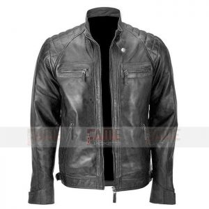 Mens Black Quilted Vintage Biker LEather Jacket