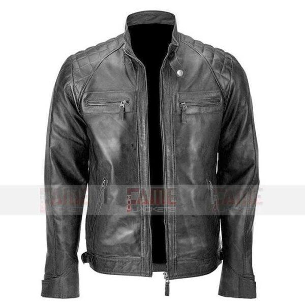 Mens Black Quilted Vintage Biker LEather Jacket