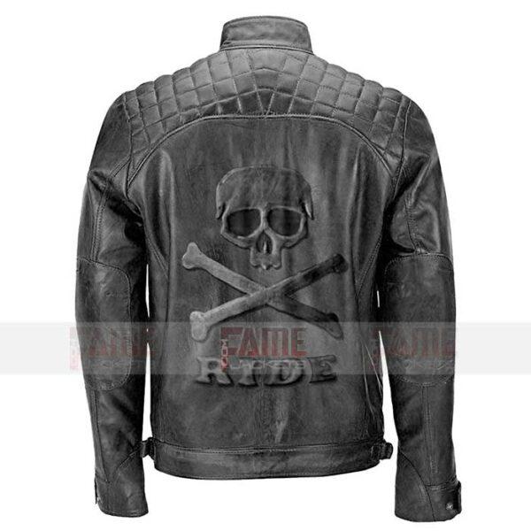 Mens Black Quilted Biker Vintage Leather Jacket