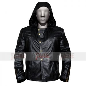 Mens Black Brando Biker Leather Jacket With Hoodie