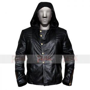 Mens Black Brando Biker Leather Jacket With Hoodie