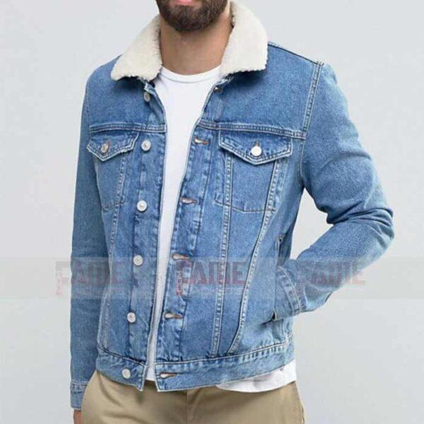 Men Blue Casual Denim Jacket With Fur Collar