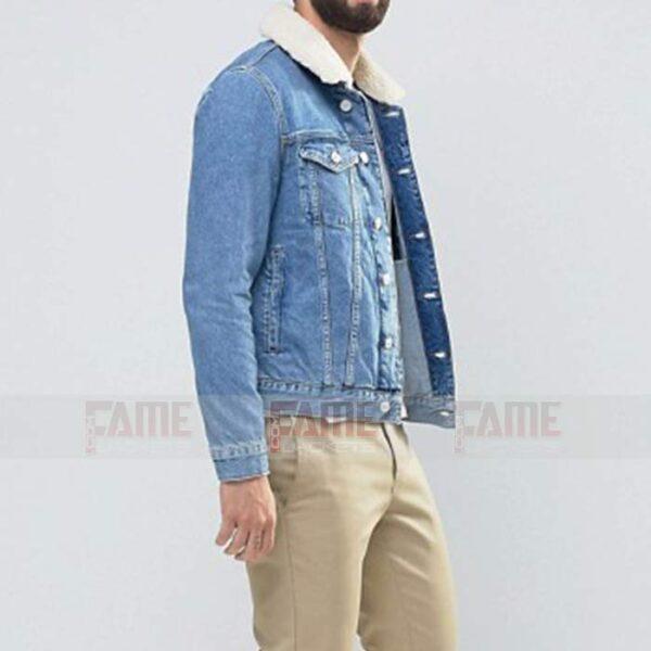 Mens Blue Denim Fur Collar Jacket