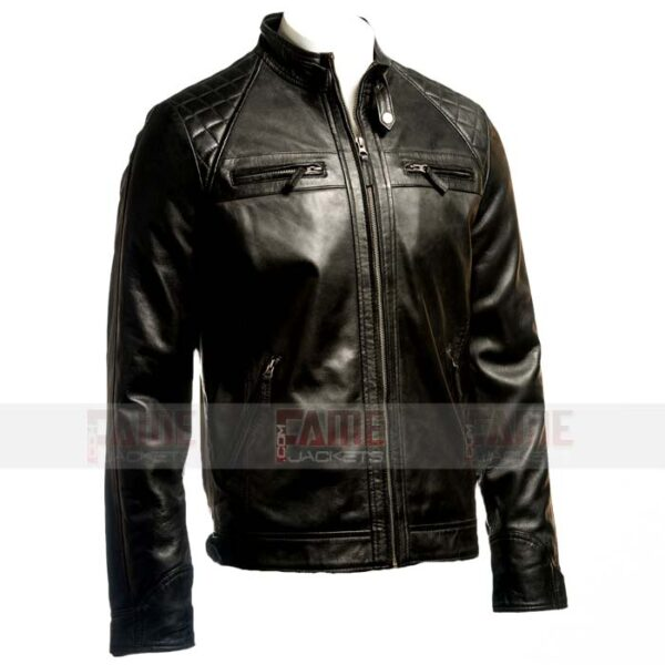 Men Cafe Racer Black Leather Quilted Jacket