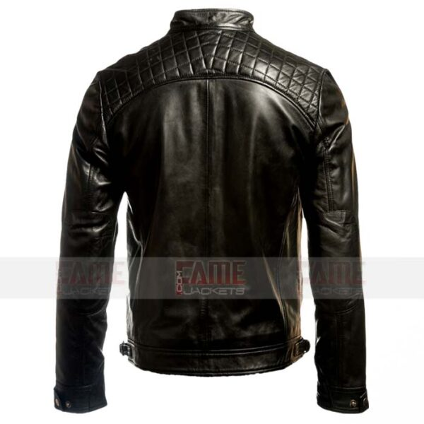 Mens Cafe Racer Black Leather Biker Jacket