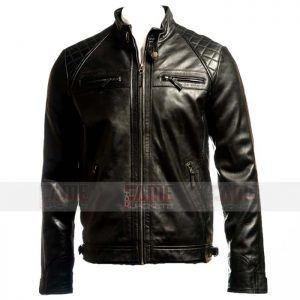 Men Cafe Racer Black Leather Quilted Biker Jacket
