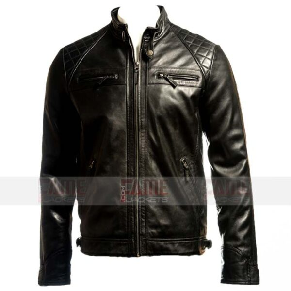Men Cafe Racer Black Leather Quilted Biker Jacket