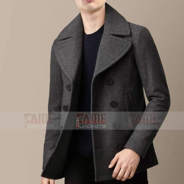 Men Grey Wool Winter Pea Coat