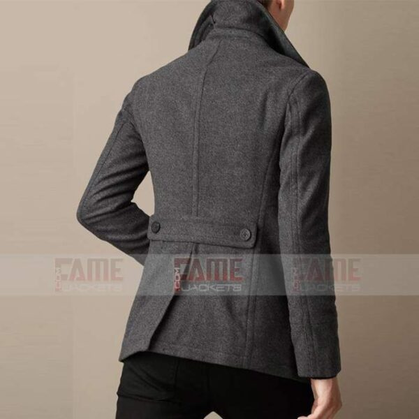 Mens Casual Grey Wool Winter Pea Coat
