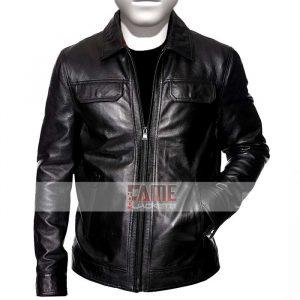 Mens Shirt Style Collar Black Leather JAcket