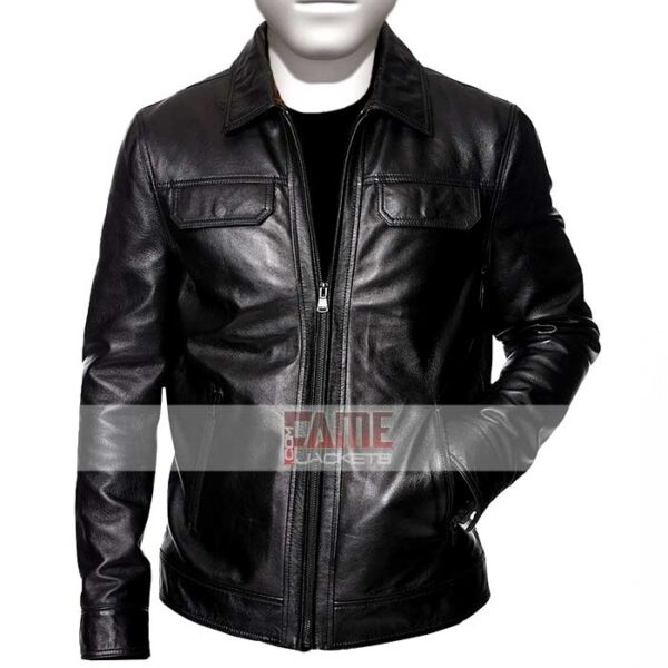 Mens Shirt Style Collar Black Leather JAcket