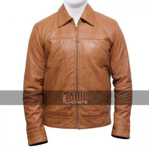 men's casual brown vintage biker leather jacket
