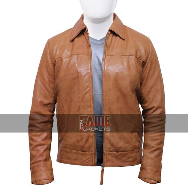 men's casual vintage style biker leather jacket