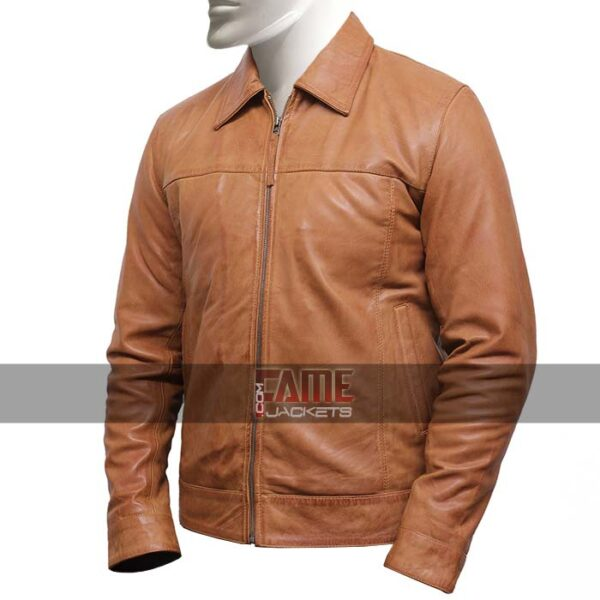 men's casual vintage style tanned brown leather biker jacket