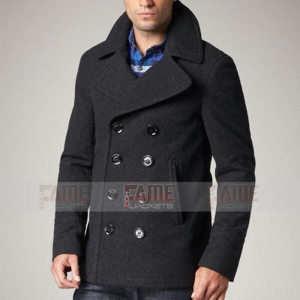Mens Grey Wool Winter Pea Coat