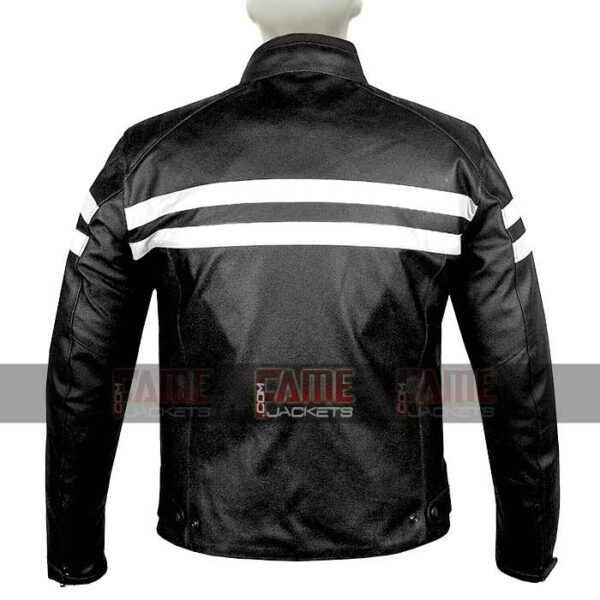 Buy Biker Black Leather Stripped Jacket at $60 Off Sale