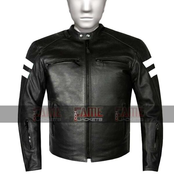 Buy Men's Motorcycle Black Leather Jacket at $60 Off Sale