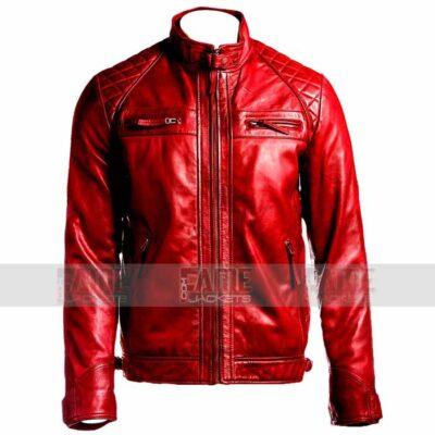 Mens Red Cafe Racer Biker Leather Jacket