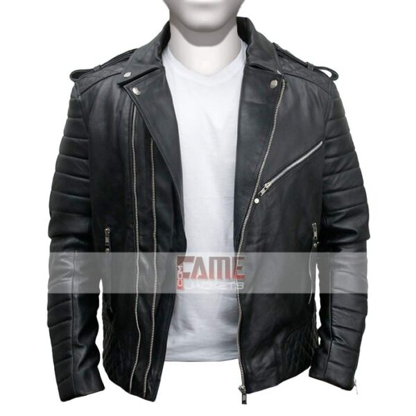 Mens Real Lambskin Leather Quilted Biker Jacket