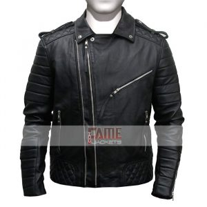 Mens Real Leather Quilted Biker Jacket