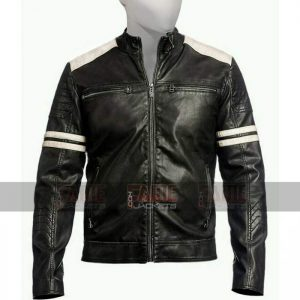 Mens Retro Biker Black Leather Jacket