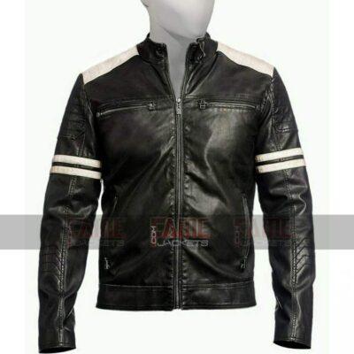 Mens Retro Biker Black Leather Jacket