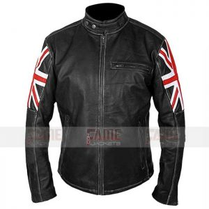 Mens UK flag Black Leather Jacket